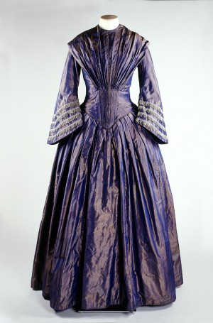 Purple shot silk day dress, 1845 - 1850
