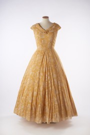 Mustard yellow rayon evening gown, 1949 - 1955