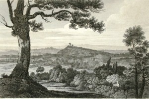 Engraving of St Ann's Hill from Egham Hill by W.Woolnoth after J.Hakewill, 1820